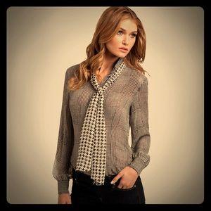 Marciano Carey Houndstooth Blouse Shirt Sz M, Silk